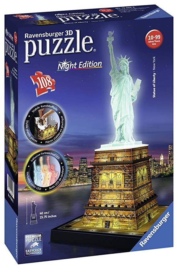 Ravensburger 12596 3D-Puzzle Freiheitsstatue bei Nacht