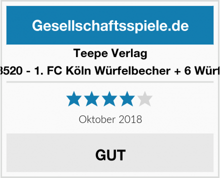 Teepe Verlag 13520 - 1. FC Köln Würfelbecher + 6 Würfel Test