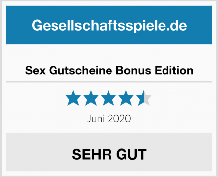 Sex Gutscheine Bonus Edition Test