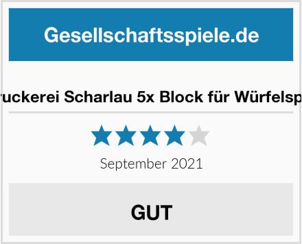 Druckerei Scharlau 5x Block für Würfelspiel Test