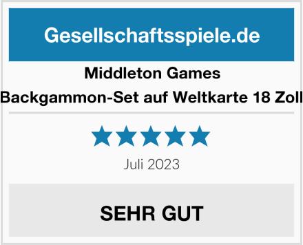 Middleton Games Luxus-Backgammon-Set auf Weltkarte 18 Zoll – Weiß Test