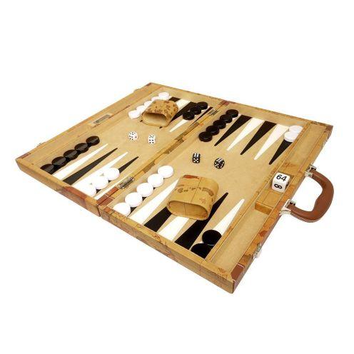 Middleton Games Luxus-Backgammon-Set auf Weltkarte 18 Zoll – Braun